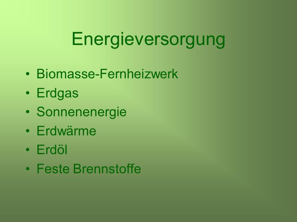 Energieversorgung Biomasse-Fernheizwerk Erdgas Sonnenenergie Erdwärme Erdöl Feste Brennstoffe