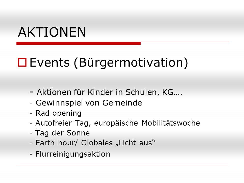 AKTIONEN Events (Bürgermotivation) - Aktionen für Kinder in Schulen, KG…. - Gewinnspiel von Gemeinde - Rad opening - Autofreier Tag, europäische Mobil