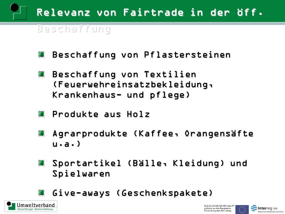 Relevanz von Fairtrade in der öff. Beschaffung Beschaffung von Pflastersteinen Beschaffung von Textilien (Feuerwehreinsatzbekleidung, Krankenhaus- und