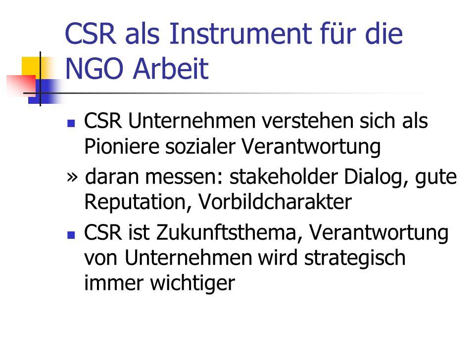 CSR als Instrument für die NGO Arbeit CSR Unternehmen verstehen sich als Pioniere sozialer Verantwortung » daran messen: stakeholder Dialog, gute Reputation, Vorbildcharakter CSR ist Zukunftsthema, Verantwortung von Unternehmen wird strategisch immer wichtiger