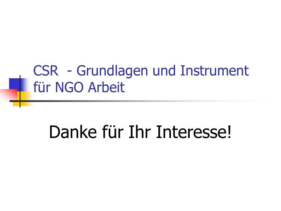 CSR - Grundlagen und Instrument für NGO Arbeit Danke für Ihr Interesse!