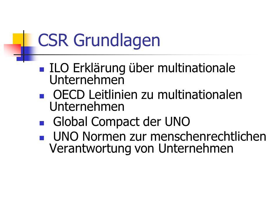 CSR Grundlagen ILO Erklärung über multinationale Unternehmen OECD Leitlinien zu multinationalen Unternehmen Global Compact der UNO UNO Normen zur menschenrechtlichen Verantwortung von Unternehmen