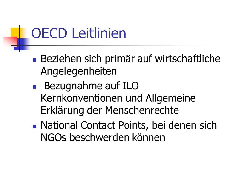 OECD Leitlinien Beziehen sich primär auf wirtschaftliche Angelegenheiten Bezugnahme auf ILO Kernkonventionen und Allgemeine Erklärung der Menschenrechte National Contact Points, bei denen sich NGOs beschwerden können