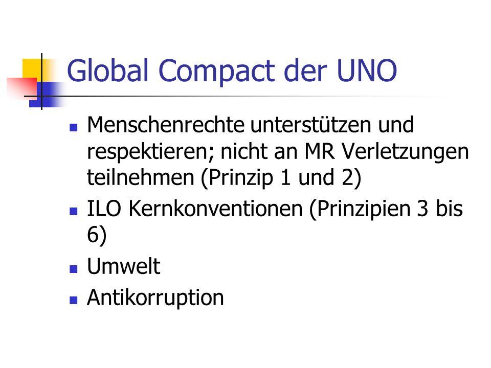 Global Compact der UNO Menschenrechte unterstützen und respektieren; nicht an MR Verletzungen teilnehmen (Prinzip 1 und 2) ILO Kernkonventionen (Prinzipien 3 bis 6) Umwelt Antikorruption