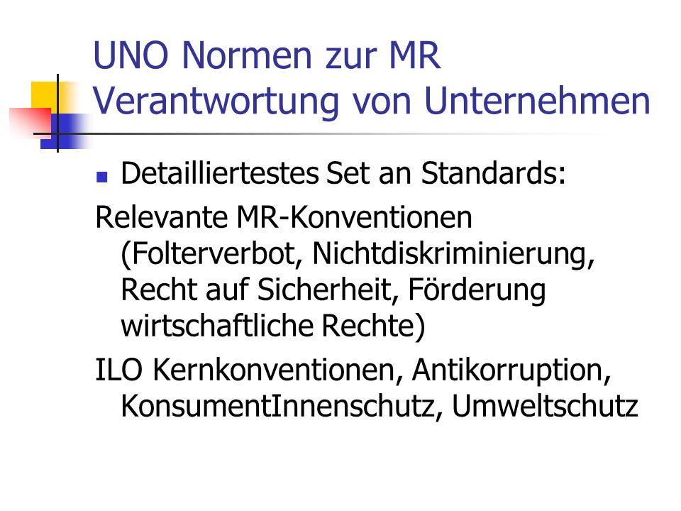 UNO Normen zur MR Verantwortung von Unternehmen Detailliertestes Set an Standards: Relevante MR-Konventionen (Folterverbot, Nichtdiskriminierung, Recht auf Sicherheit, Förderung wirtschaftliche Rechte) ILO Kernkonventionen, Antikorruption, KonsumentInnenschutz, Umweltschutz