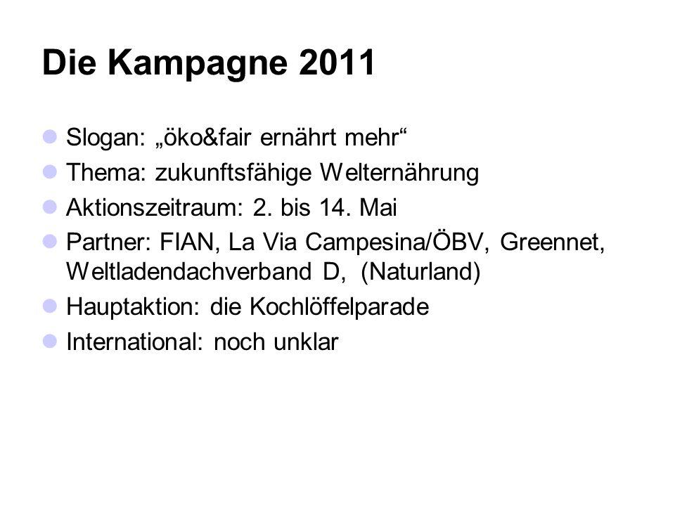 Die Kampagne 2011 Slogan: öko&fair ernährt mehr Thema: zukunftsfähige Welternährung Aktionszeitraum: 2.