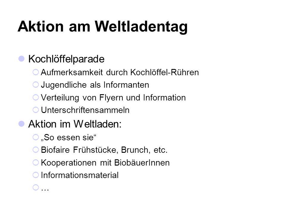 Aktion am Weltladentag Kochlöffelparade Aufmerksamkeit durch Kochlöffel-Rühren Jugendliche als Informanten Verteilung von Flyern und Information Unterschriftensammeln Aktion im Weltladen: So essen sie Biofaire Frühstücke, Brunch, etc.