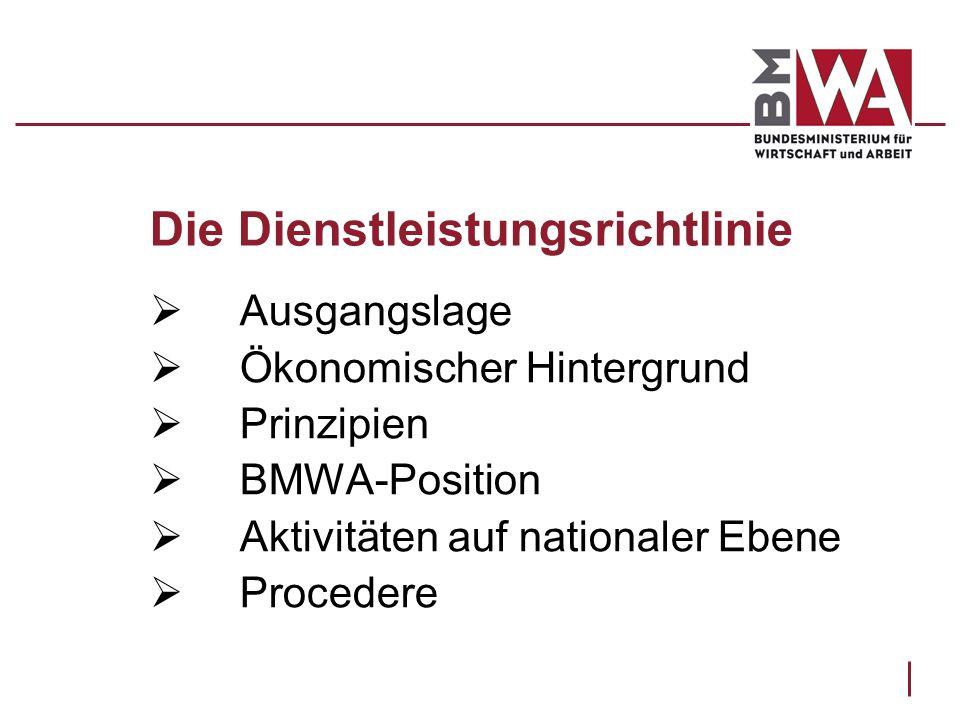 Die Dienstleistungsrichtlinie Ausgangslage Ökonomischer Hintergrund Prinzipien BMWA-Position Aktivitäten auf nationaler Ebene Procedere