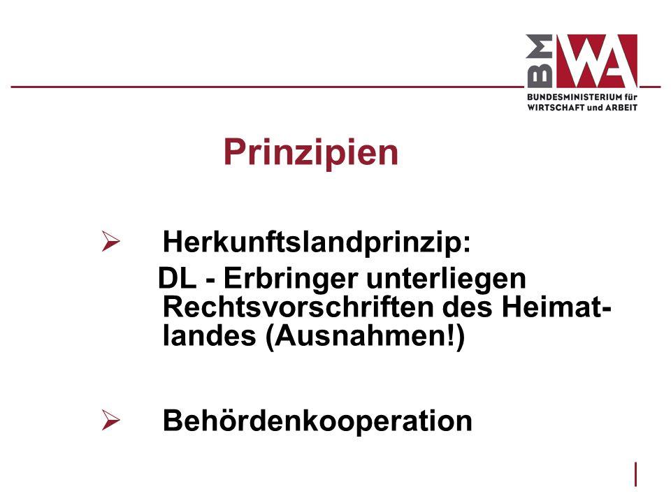 Prinzipien Herkunftslandprinzip: DL - Erbringer unterliegen Rechtsvorschriften des Heimat- landes (Ausnahmen!) Behördenkooperation