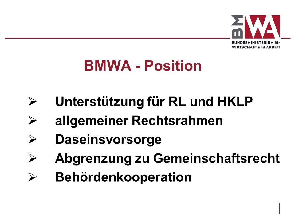 BMWA - Position Unterstützung für RL und HKLP allgemeiner Rechtsrahmen Daseinsvorsorge Abgrenzung zu Gemeinschaftsrecht Behördenkooperation