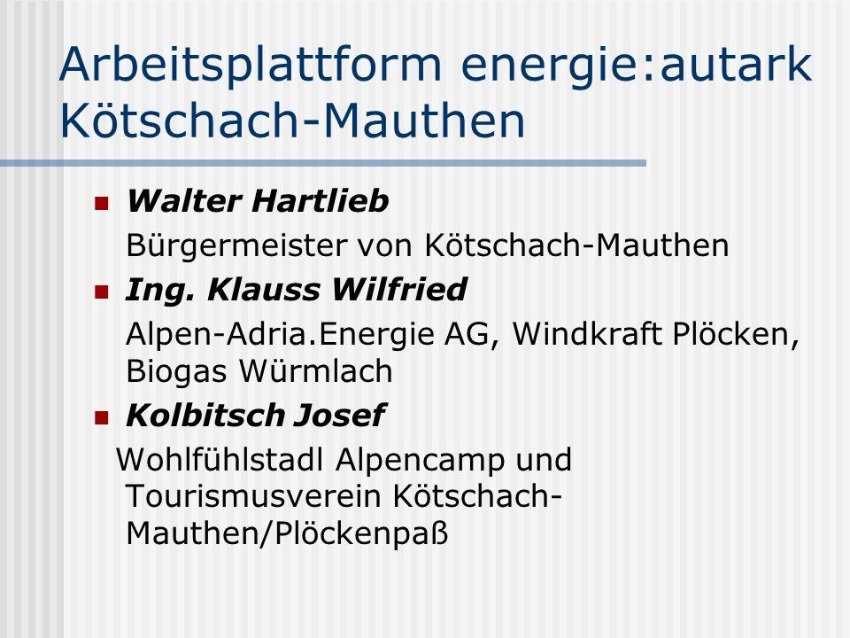 Arbeitsplattform energie:autark Kötschach-Mauthen Walter Hartlieb Bürgermeister von Kötschach-Mauthen Ing. Klauss Wilfried Alpen-Adria.Energie AG, Win