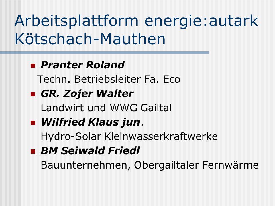 Arbeitsplattform energie:autark Kötschach-Mauthen Pranter Roland Techn. Betriebsleiter Fa. Eco GR. Zojer Walter Landwirt und WWG Gailtal Wilfried Klau