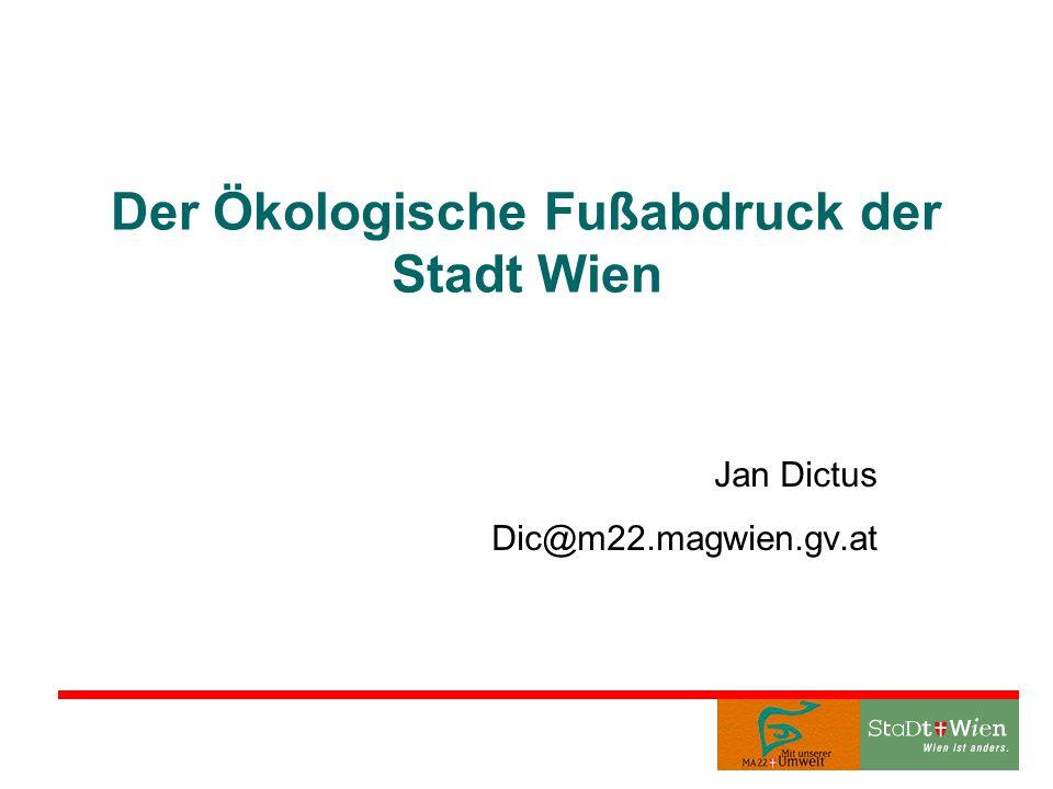 Der Ökologische Fußabdruck der Stadt Wien Jan Dictus Dic@m22.magwien.gv.at