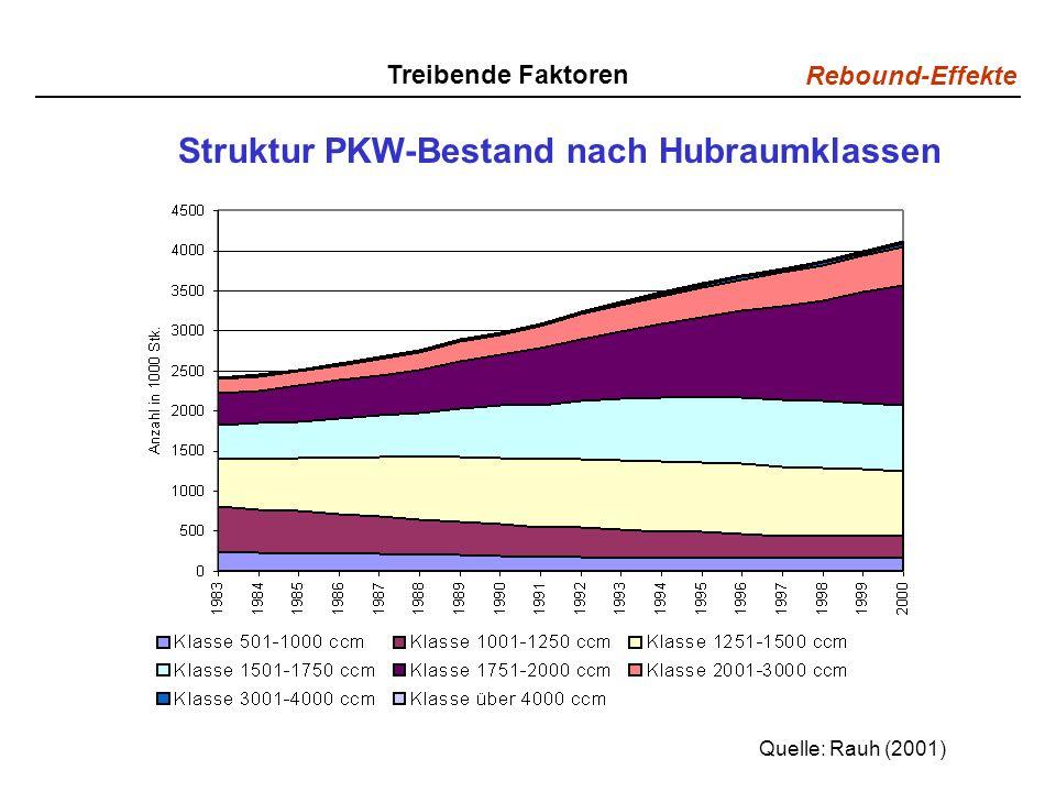 Rebound-Effekte Struktur PKW-Bestand nach Hubraumklassen Quelle: Rauh (2001) Treibende Faktoren
