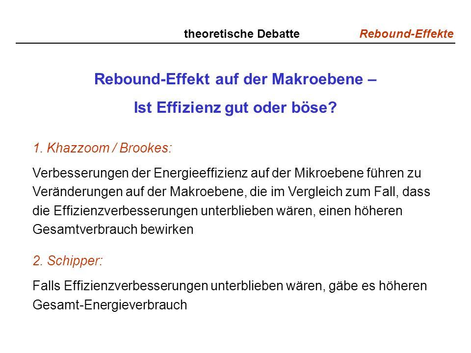 Rebound-Effekte theoretische Debatte Rebound-Effekt auf der Makroebene – Ist Effizienz gut oder böse? 1. Khazzoom / Brookes: Verbesserungen der Energi