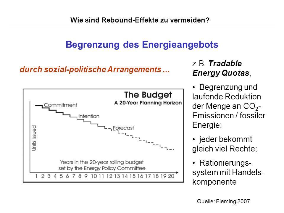 Wie sind Rebound-Effekte zu vermeiden? Begrenzung des Energieangebots durch sozial-politische Arrangements... z.B. Tradable Energy Quotas, Begrenzung