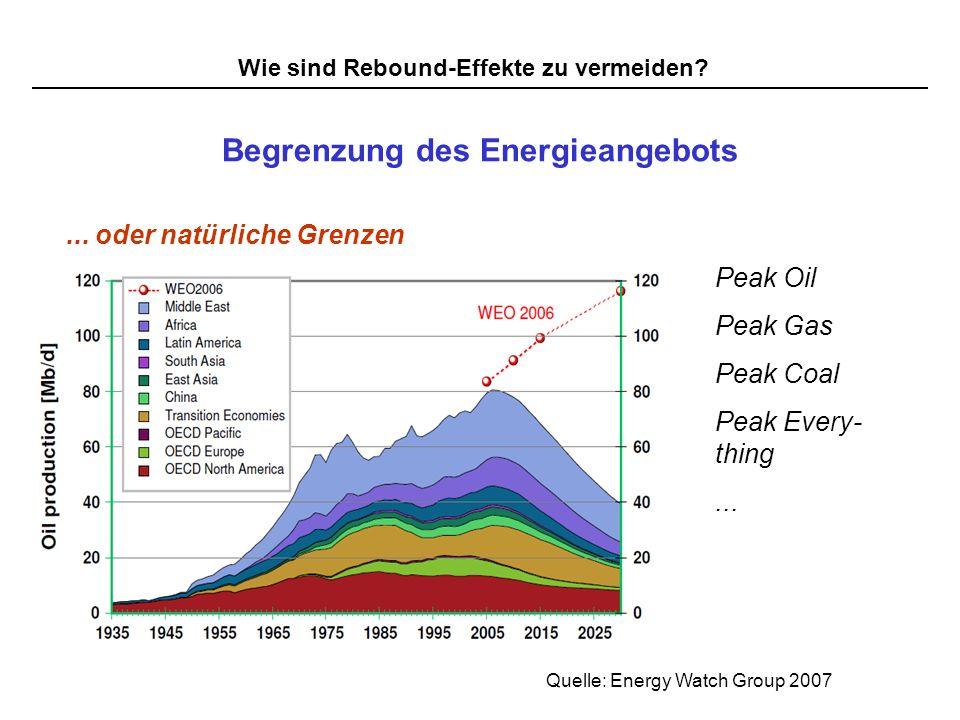 Wie sind Rebound-Effekte zu vermeiden? Begrenzung des Energieangebots... oder natürliche Grenzen Peak Oil Peak Gas Peak Coal Peak Every- thing... Quel