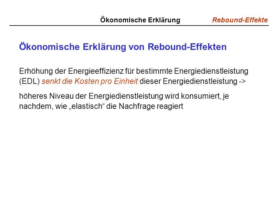 Rebound-Effekte Ökonomische Erklärung Ökonomische Erklärung von Rebound-Effekten Erhöhung der Energieeffizienz für bestimmte Energiedienstleistung (EDL) senkt die Kosten pro Einheit dieser Energiedienstleistung -> höheres Niveau der Energiedienstleistung wird konsumiert, je nachdem, wie elastisch die Nachfrage reagiert