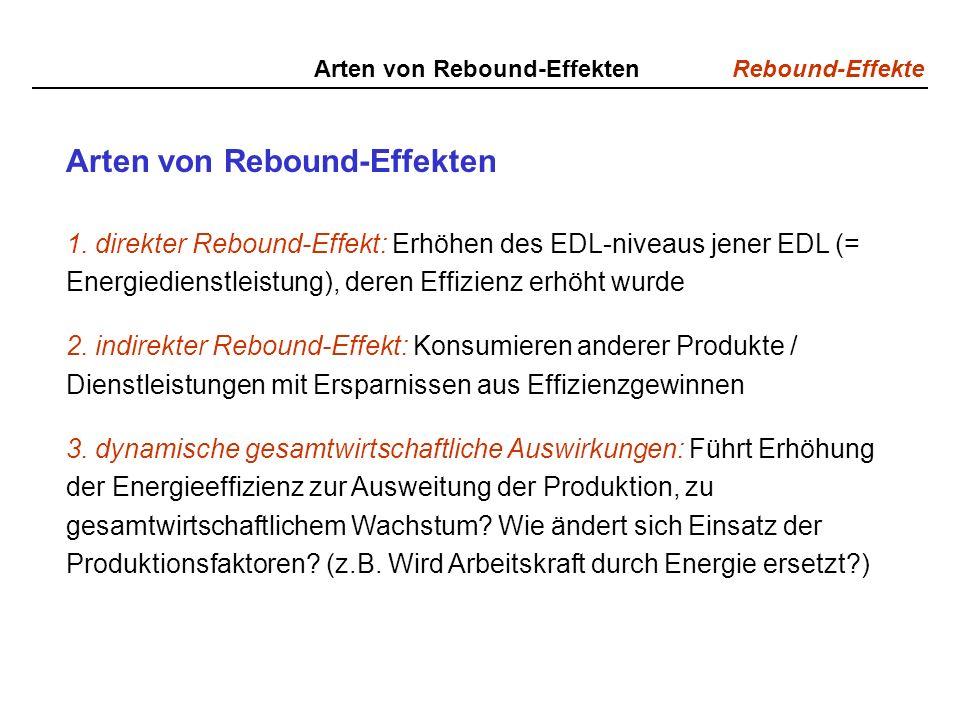 Rebound-Effekte Arten von Rebound-Effekten 1. direkter Rebound-Effekt: Erhöhen des EDL-niveaus jener EDL (= Energiedienstleistung), deren Effizienz er