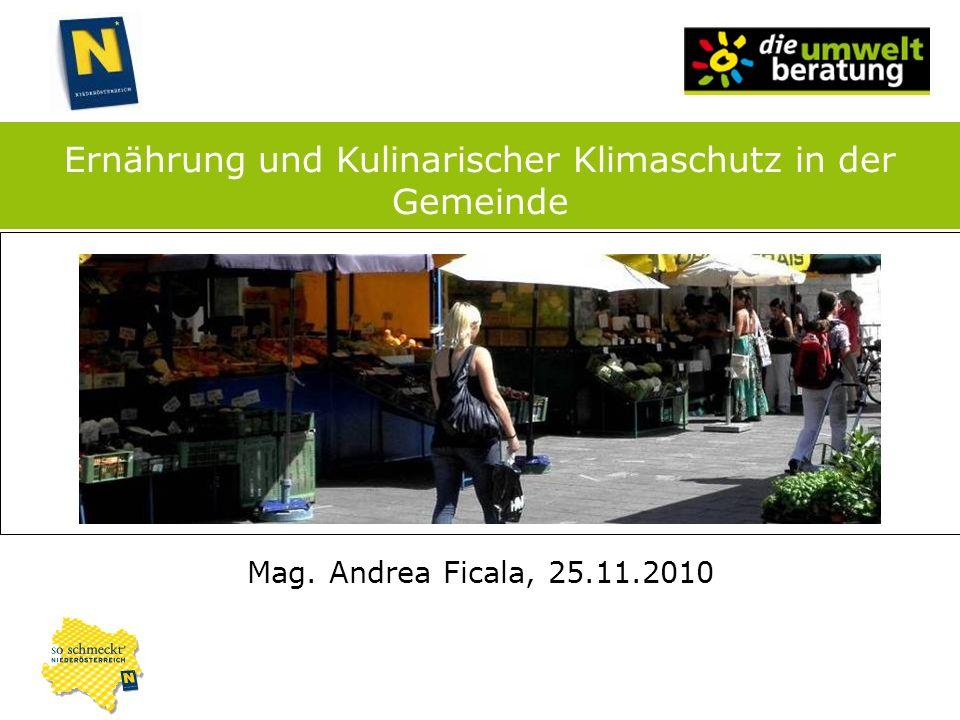 Mag. Andrea Ficala, 25.11.2010 Ernährung und Kulinarischer Klimaschutz in der Gemeinde