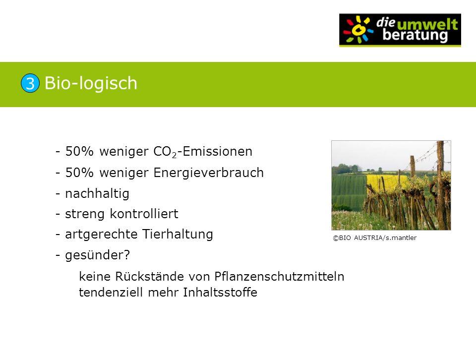 - 50% weniger CO 2 -Emissionen - 50% weniger Energieverbrauch - nachhaltig - streng kontrolliert - artgerechte Tierhaltung - gesünder? keine Rückständ