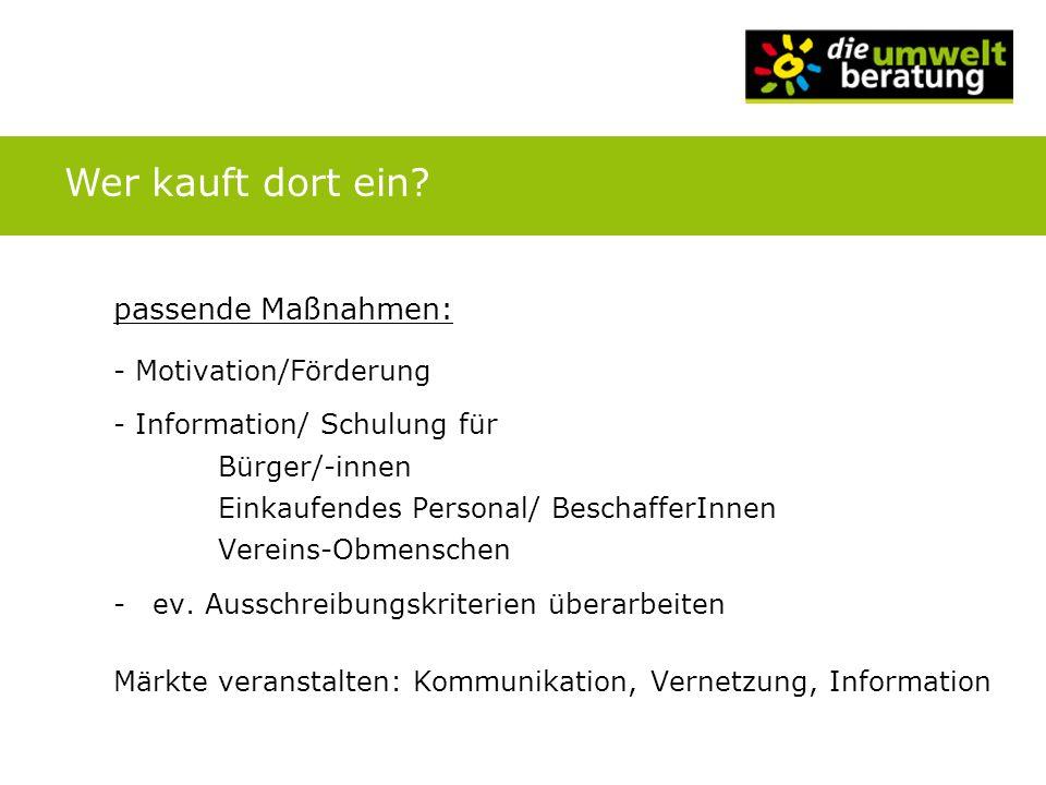 passende Maßnahmen: - Motivation/Förderung - Information/ Schulung für Bürger/-innen Einkaufendes Personal/ BeschafferInnen Vereins-Obmenschen -ev. Au