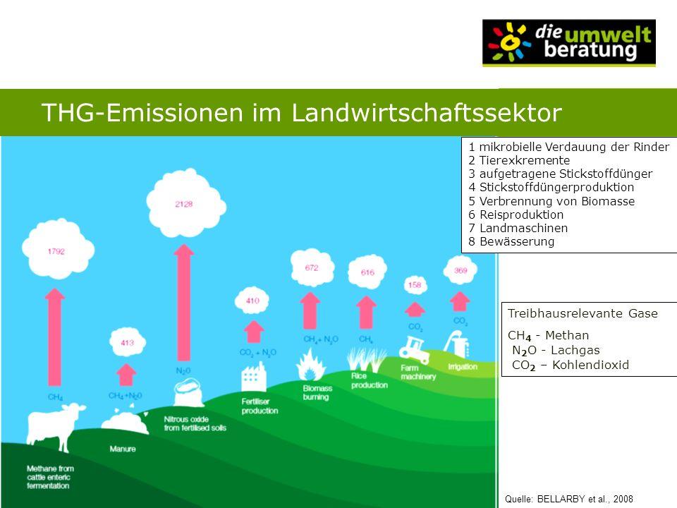 Quelle: BELLARBY et al., 2008 Treibhausrelevante Gase CH 4 - Methan N 2 O - Lachgas CO 2 – Kohlendioxid 1 mikrobielle Verdauung der Rinder 2 Tierexkre