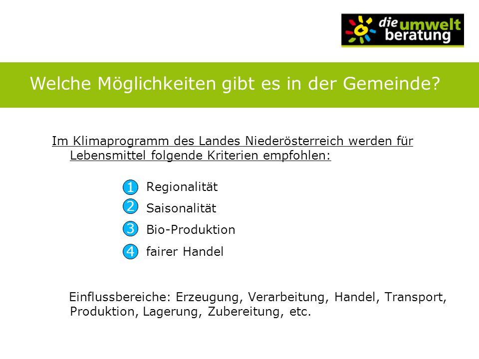 Im Klimaprogramm des Landes Niederösterreich werden für Lebensmittel folgende Kriterien empfohlen: Regionalität Saisonalität Bio-Produktion fairer Han