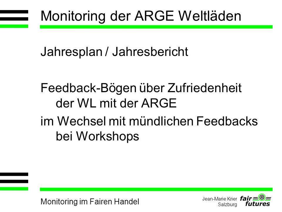 Monitoring im Fairen Handel Jean-Marie Krier Salzburg Monitoring der ARGE Weltläden Jahresplan / Jahresbericht Feedback-Bögen über Zufriedenheit der WL mit der ARGE im Wechsel mit mündlichen Feedbacks bei Workshops