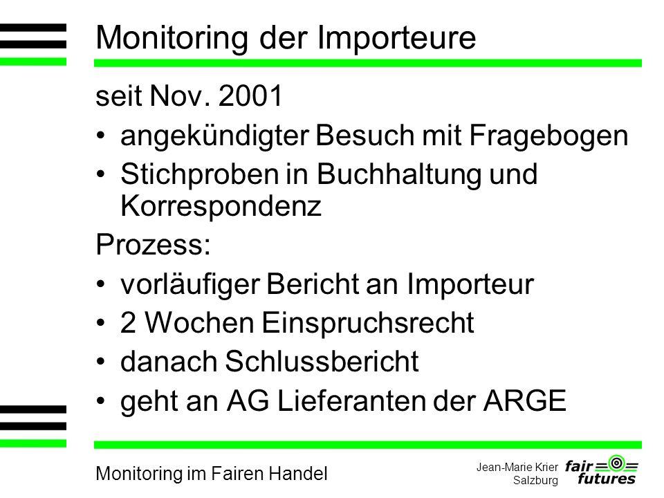 Monitoring im Fairen Handel Jean-Marie Krier Salzburg Monitoring der Importeure seit Nov.