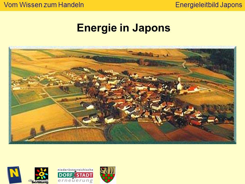 Vom Wissen zum HandelnEnergieleitbild Japons Energieausweis Aktion 2009 Aufzeigen der Wärmeverluste durch Energieberatung durch Energieausweis durch Wärmebildaufnahmen für die meisten Wohnhäuser und alle Gemeindegebäude