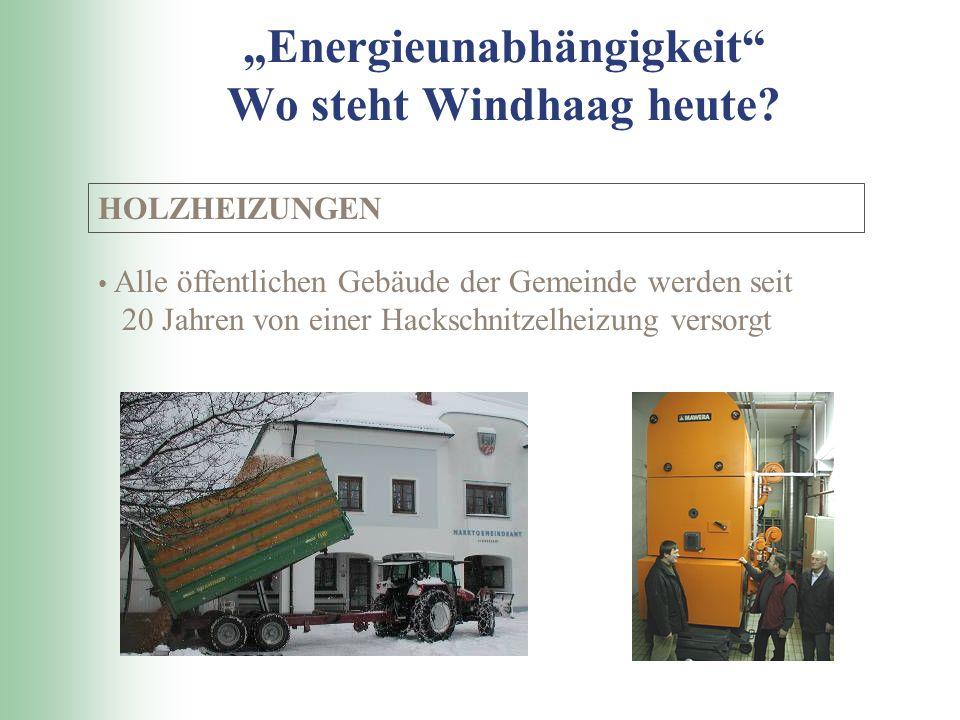 Energieunabhängigkeit Wo steht Windhaag heute.