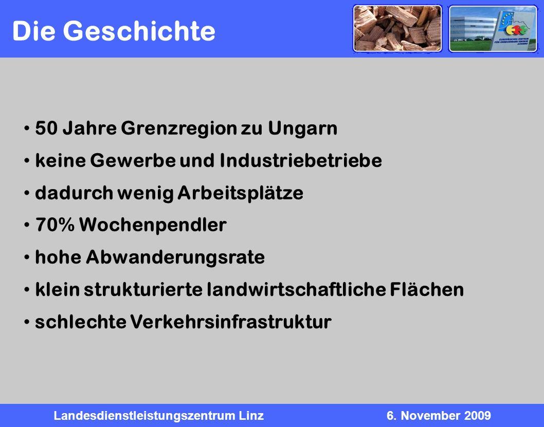 Landesdienstleistungszentrum Linz6. November 2009 50 Jahre Grenzregion zu Ungarn keine Gewerbe und Industriebetriebe dadurch wenig Arbeitsplätze 70% W