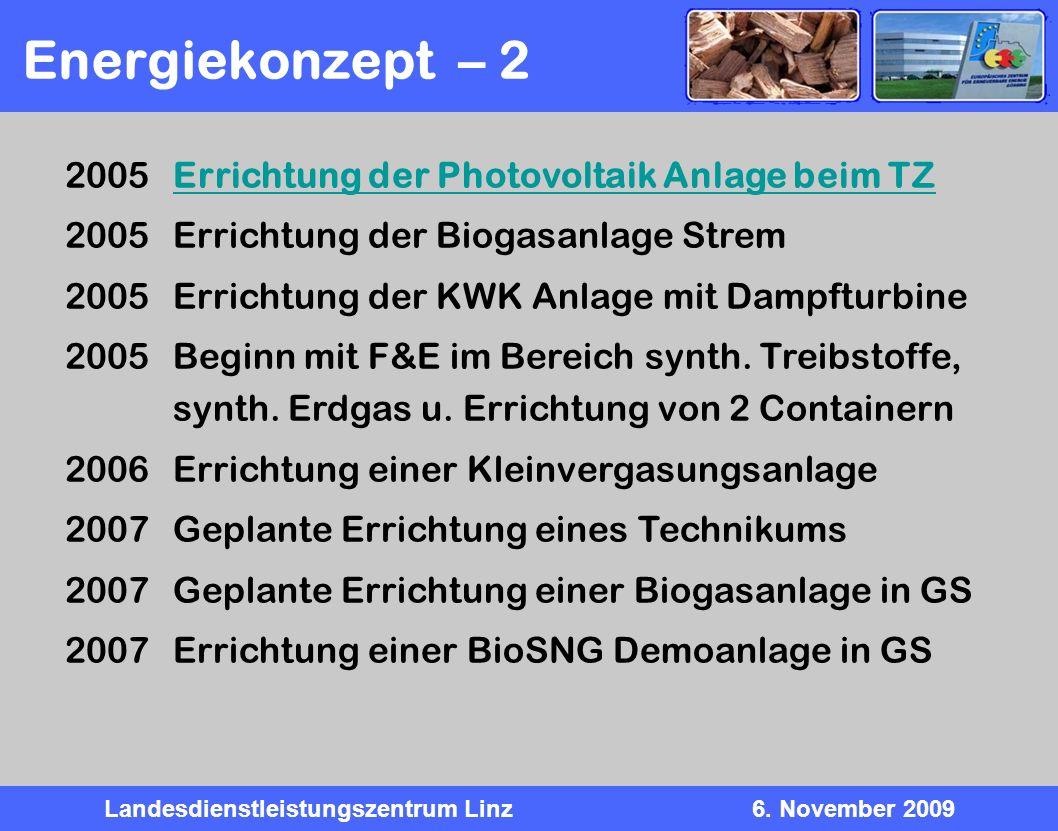 Landesdienstleistungszentrum Linz6. November 2009 Energiekonzept – 2 2005 Errichtung der Photovoltaik Anlage beim TZErrichtung der Photovoltaik Anlage