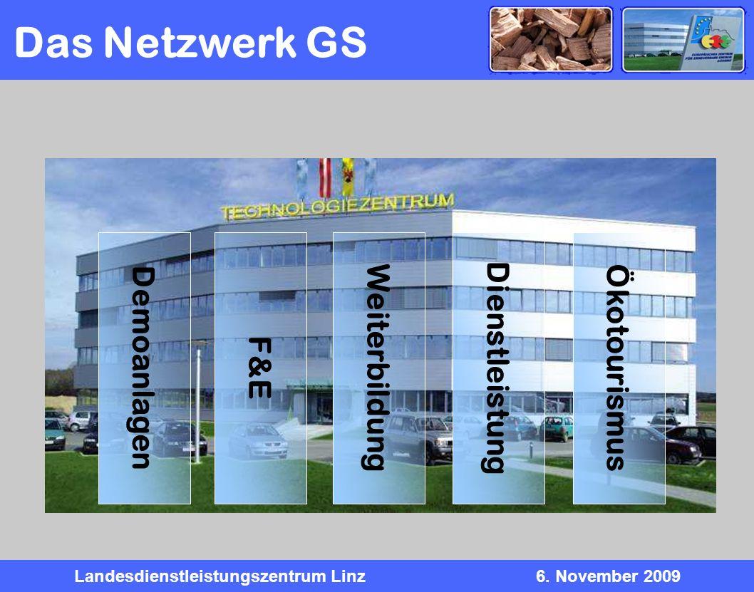 Landesdienstleistungszentrum Linz6. November 2009 Ökotourismus Demoanlagen F&E Weiterbildung Dienstleistung Das Netzwerk GS