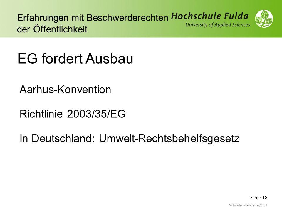 Seite 13 Erfahrungen mit Beschwerderechten der Öffentlichkeit Schrader wienvortrag2.ppt EG fordert Ausbau Richtlinie 2003/35/EG In Deutschland: Umwelt