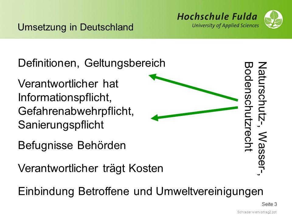 Seite 3 Umsetzung in Deutschland Schrader wienvortrag2.ppt Definitionen, Geltungsbereich Verantwortlicher hat Informationspflicht, Gefahrenabwehrpflic