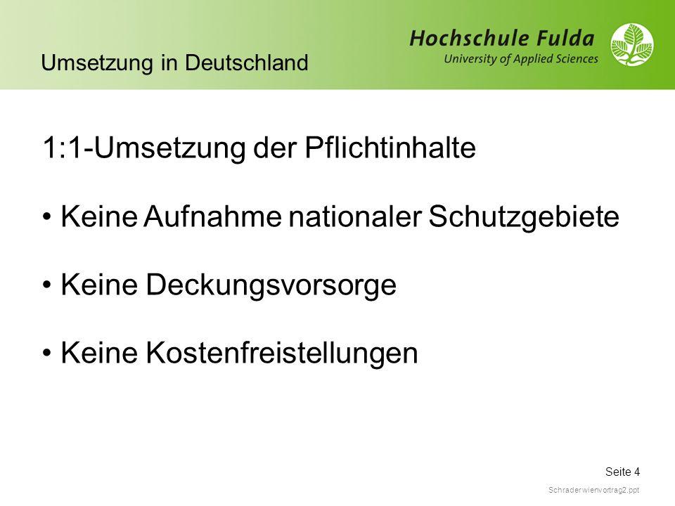 Seite 4 Umsetzung in Deutschland Schrader wienvortrag2.ppt 1:1-Umsetzung der Pflichtinhalte Keine Aufnahme nationaler Schutzgebiete Keine Deckungsvors