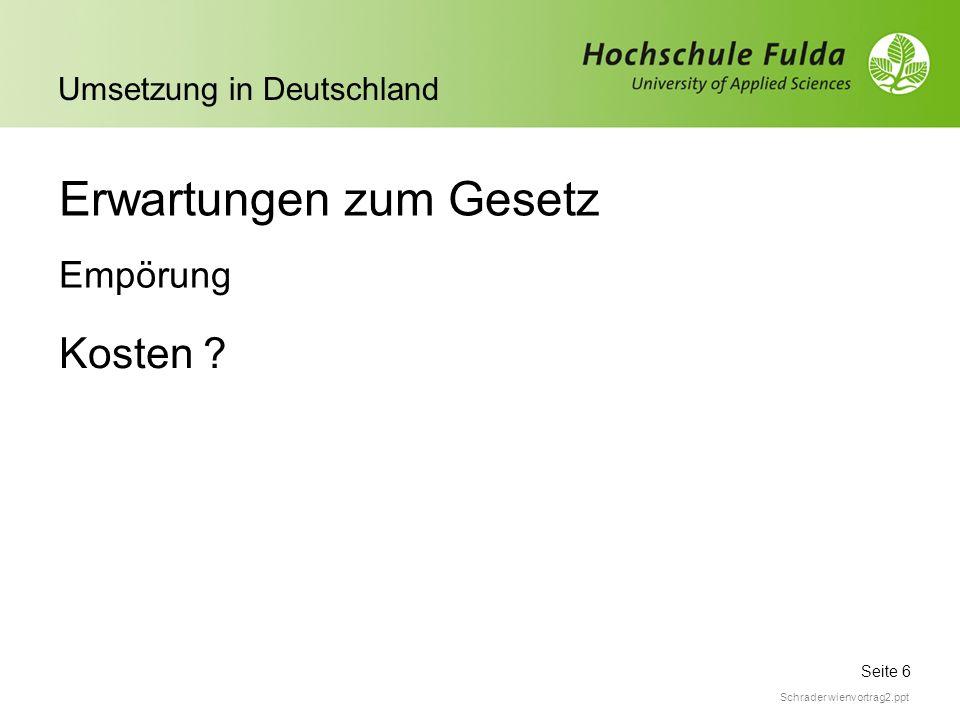 Seite 6 Umsetzung in Deutschland Schrader wienvortrag2.ppt Erwartungen zum Gesetz Kosten ? Empörung