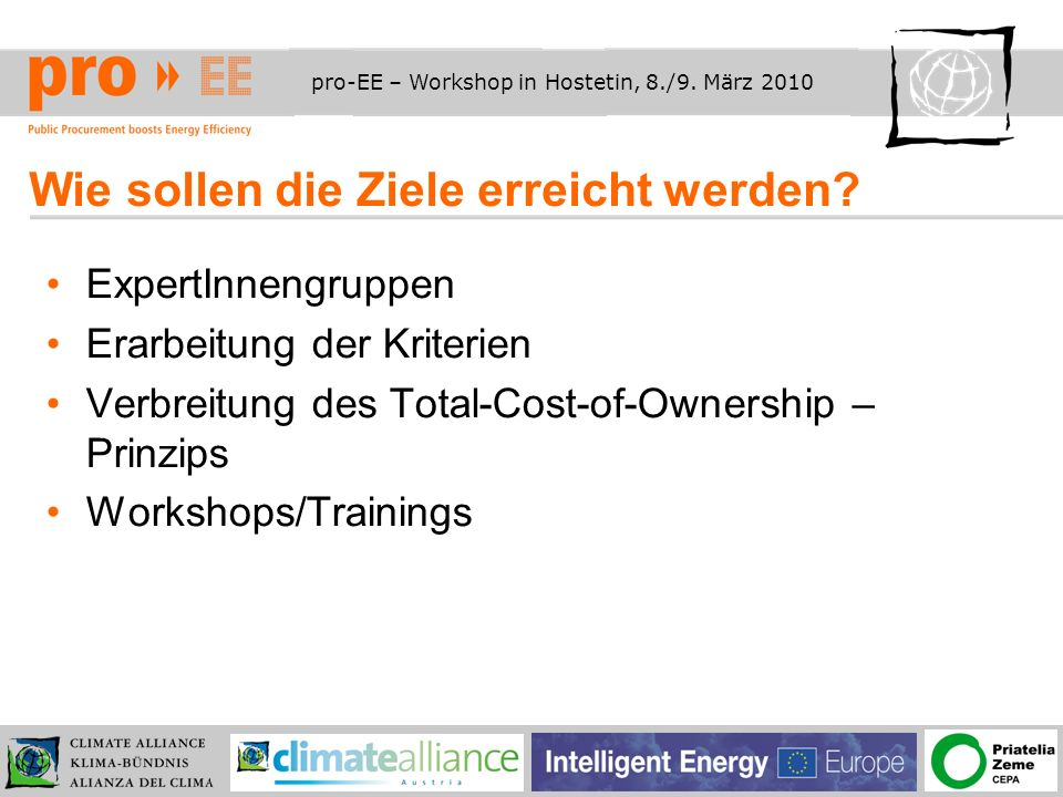 pro-EE – Workshop in Hostetin, 8./9. März 2010 Wie sollen die Ziele erreicht werden.