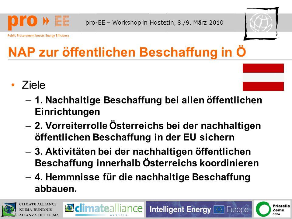pro-EE – Workshop in Hostetin, 8./9. März 2010 NAP zur öffentlichen Beschaffung in Ö Ziele –1.