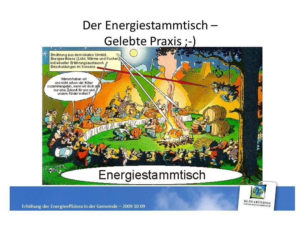 Der Energiestammtisch – Gelebte Praxis ;-) Erhöhung der Energieeffizienz in der Gemeinde – 2009 10 09