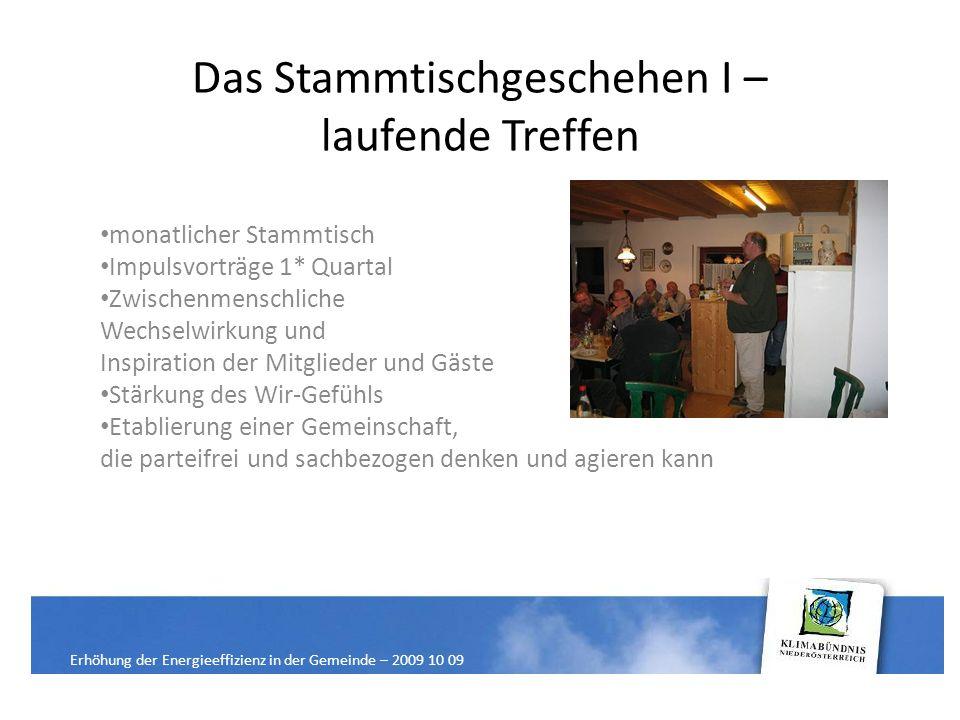 Das Stammtischgeschehen II – mögliche Aktionen Zu Beginn der Initiative: Energieinformations- und Diskussionsabende Themen: Solar, PV, Biomasse etc.