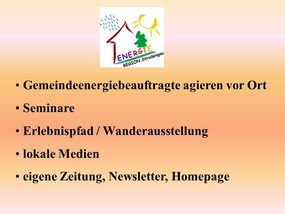 Gemeindeenergiebeauftragte agieren vor Ort Seminare Erlebnispfad / Wanderausstellung lokale Medien eigene Zeitung, Newsletter, Homepage