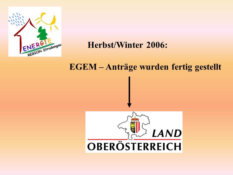 Herbst/Winter 2006: EGEM – Anträge wurden fertig gestellt