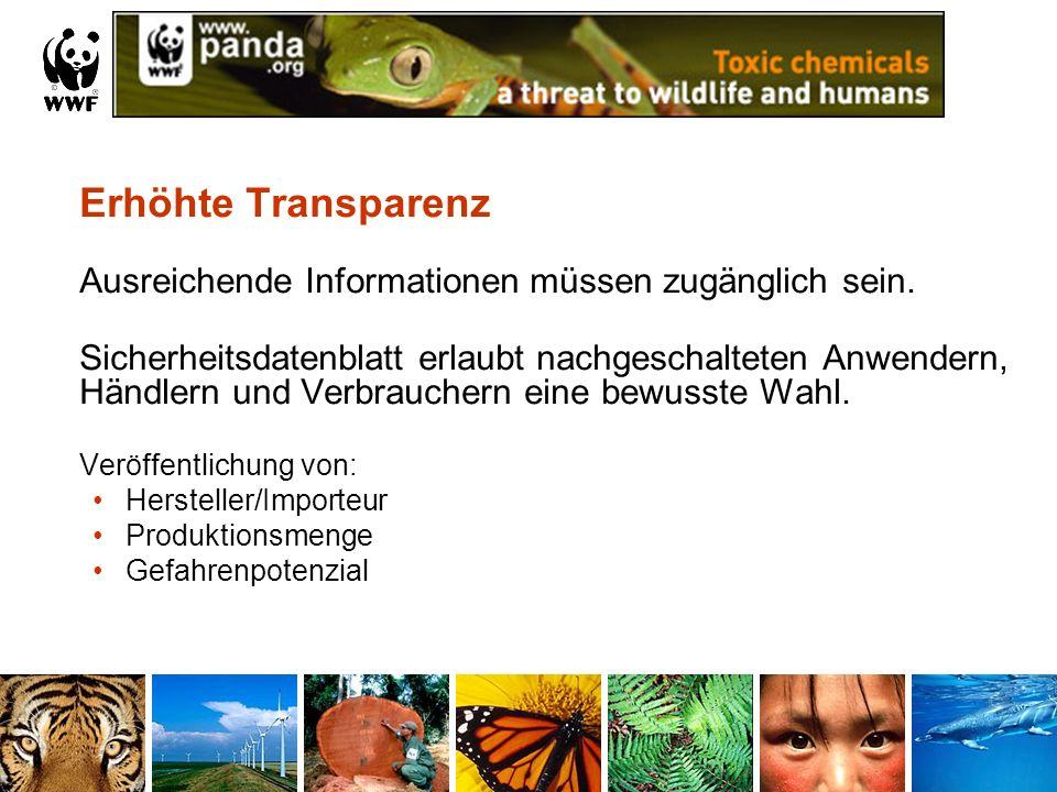 Erhöhte Transparenz Ausreichende Informationen müssen zugänglich sein. Sicherheitsdatenblatt erlaubt nachgeschalteten Anwendern, Händlern und Verbrauc