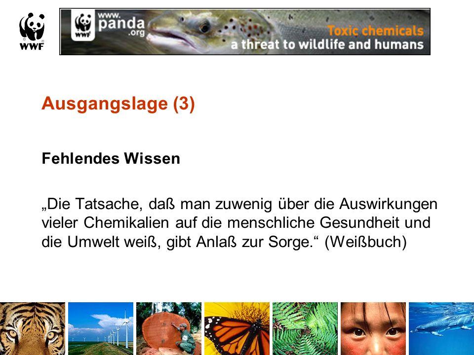 Ausgangslage (4) Chemikalien praktisch überall feststellbar in der Natur im Menschen