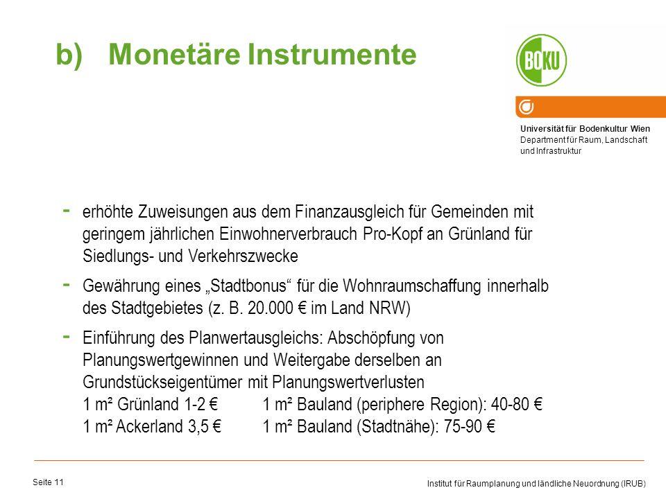 Universität für Bodenkultur Wien Department für Raum, Landschaft und Infrastruktur Institut für Raumplanung und ländliche Neuordnung (IRUB) Seite 11 -