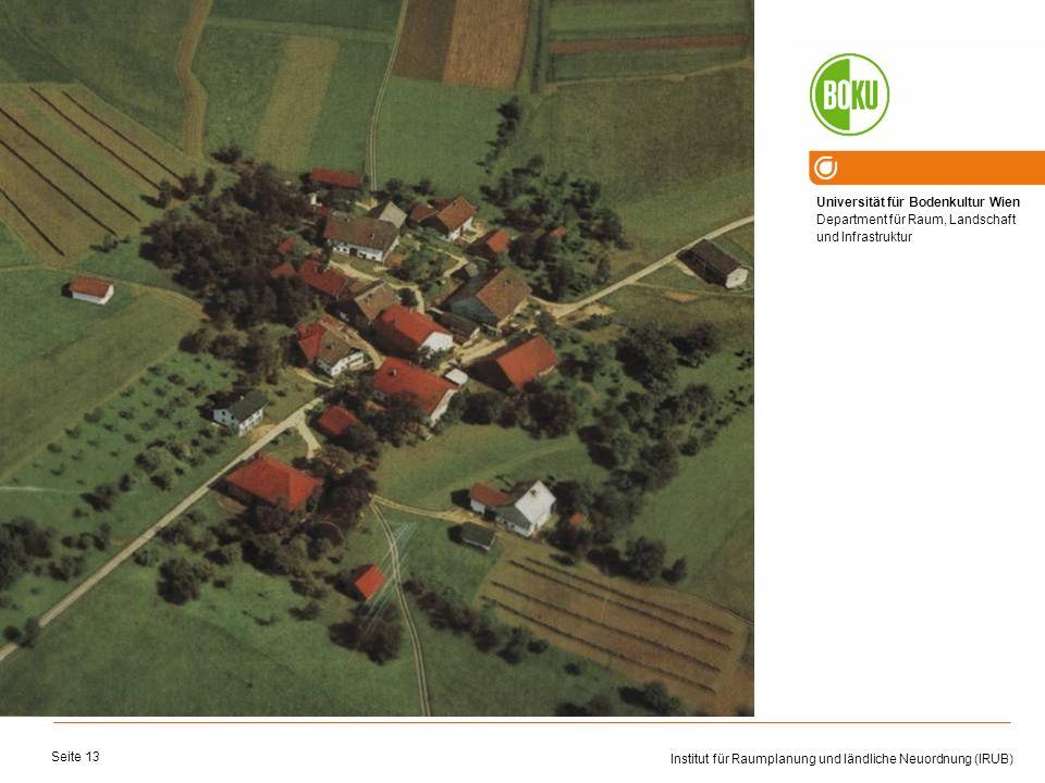 Universität für Bodenkultur Wien Department für Raum, Landschaft und Infrastruktur Institut für Raumplanung und ländliche Neuordnung (IRUB) Seite 13