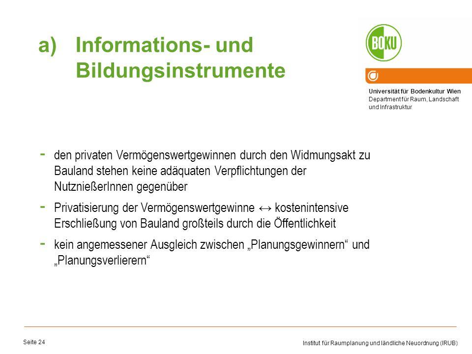 Universität für Bodenkultur Wien Department für Raum, Landschaft und Infrastruktur Institut für Raumplanung und ländliche Neuordnung (IRUB) Seite 24 -